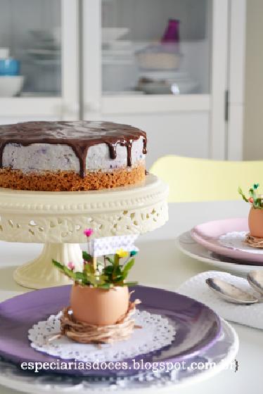 Cheesecake sem forno de mirtilo e chocolate