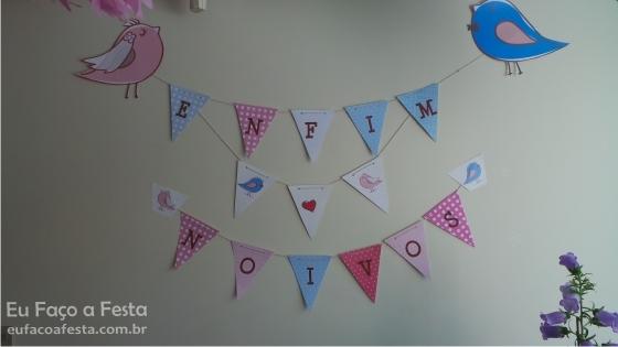 Bandeirinhas para noivado tema passarinhos - Portal de Eventos Eu Faço a Festa