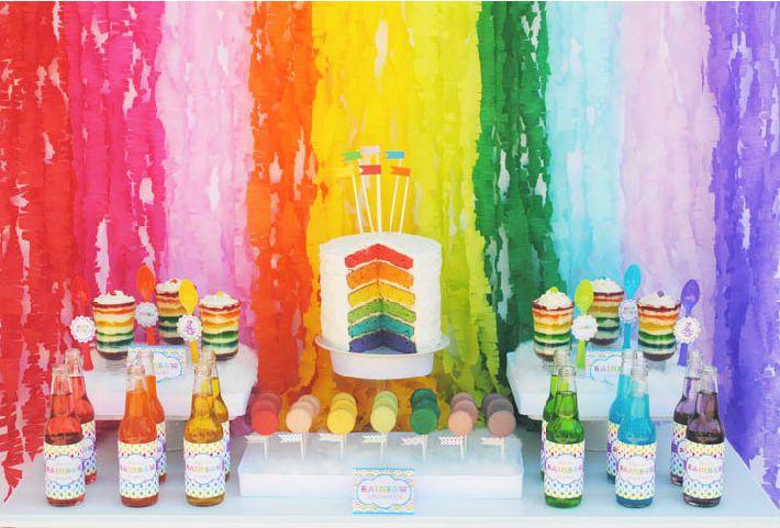Mural de papel para festa arcoíris