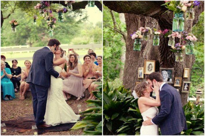 Fotos de parentes no altar de casamento