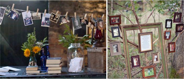 mural com fotos de falecidos em casamento