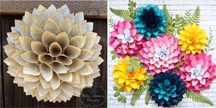 Dalia feita com cones de papel