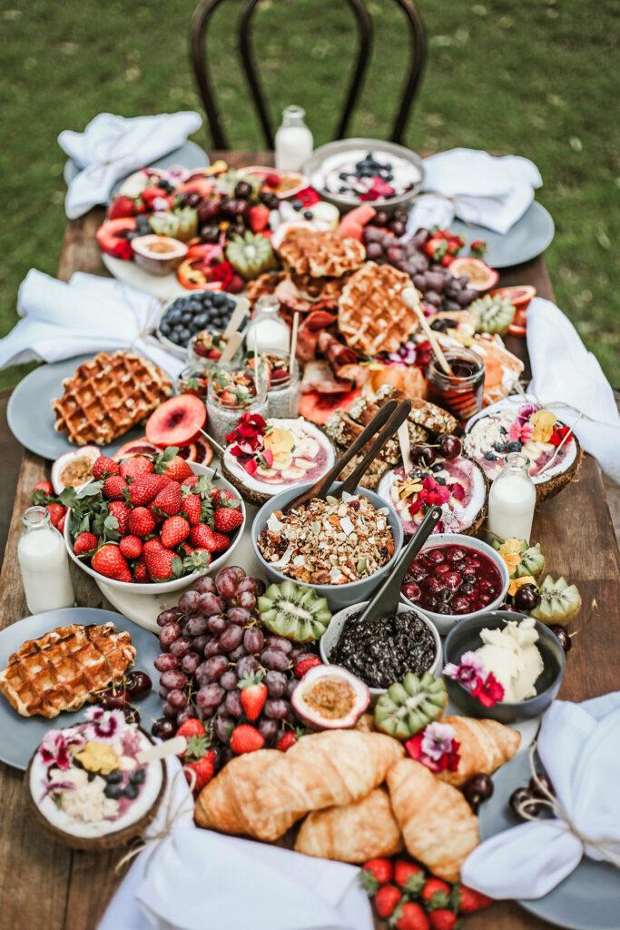 Mesa grazing de café da manhã